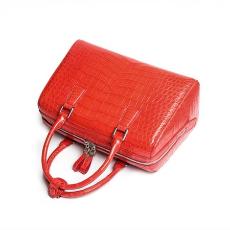 Classic Alligator Leather Barrel Handbag Top-Handle Bag Purse for Women-Red-Details