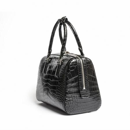 Classic Alligator Leather Barrel Handbag Top-Handle Bag Purse for Women-Side