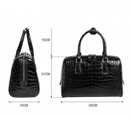 Classic Alligator Leather Barrel Handbag Top-Handle Bag Purse for Women-Size