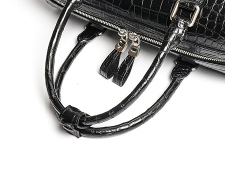 Classic Alligator Leather Barrel Handbag Top-Handle Bag Purse for Women-Top Handle