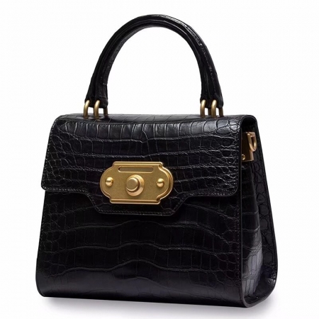 Designer Alligator Handbag Ladies Alligator Shoulder Purse Bag-Black