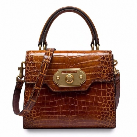 Designer Alligator Handbag Ladies Alligator Shoulder Purse Bag-Brown