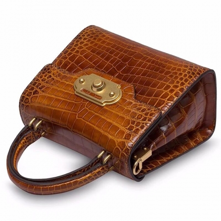 Designer Alligator Handbag Ladies Alligator Shoulder Purse Bag-Brown-Details