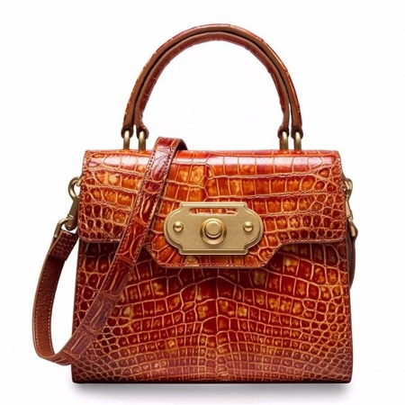 Designer Alligator Handbag Ladies Alligator Shoulder Purse Bag-Cognac