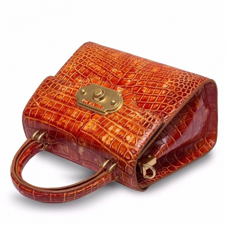 Designer Alligator Handbag Ladies Alligator Shoulder Purse Bag-Cognac-Details
