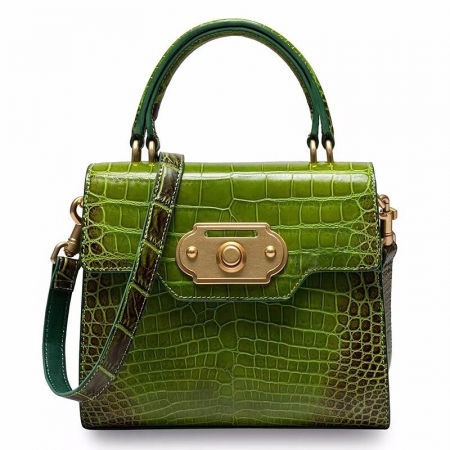 Designer Alligator Handbag Ladies Alligator Shoulder Purse Bag-Green