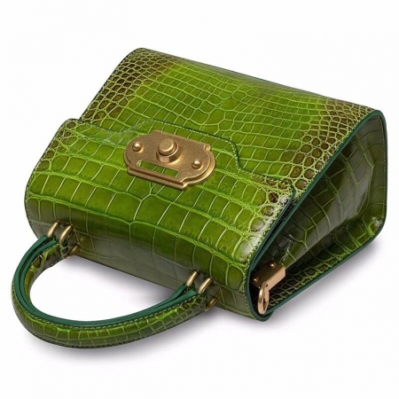 Designer Alligator Handbag Ladies Alligator Shoulder Purse Bag-Green-Details