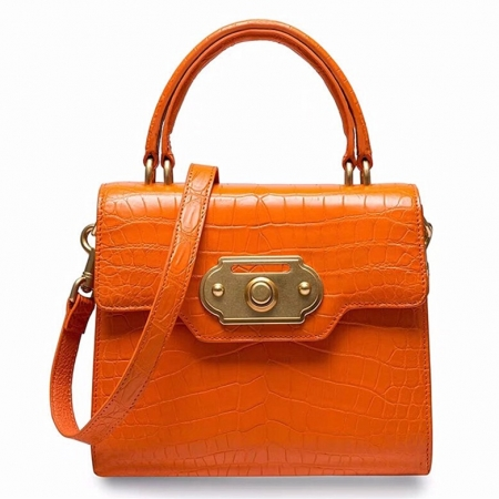 Designer Alligator Handbag Ladies Alligator Shoulder Purse Bag-Orange