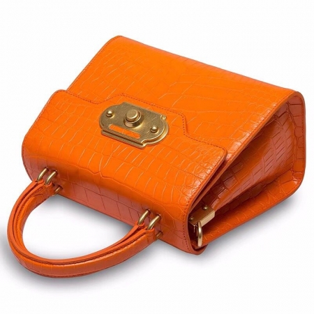Designer Alligator Handbag Ladies Alligator Shoulder Purse Bag-Orange-Details