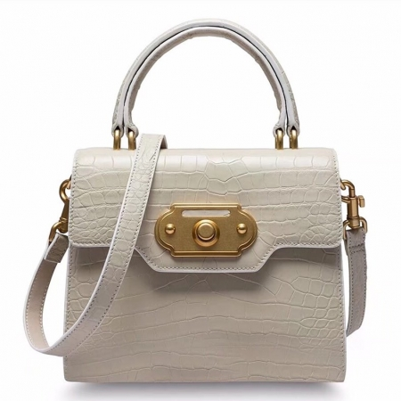 Designer Alligator Handbag Ladies Alligator Shoulder Purse Bag-White