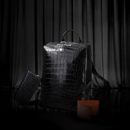 Genuine Alligator Leather Backpack Business Travel Daypack
