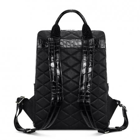 Genuine Alligator Leather Backpack Business Travel Daypack for Men-Back