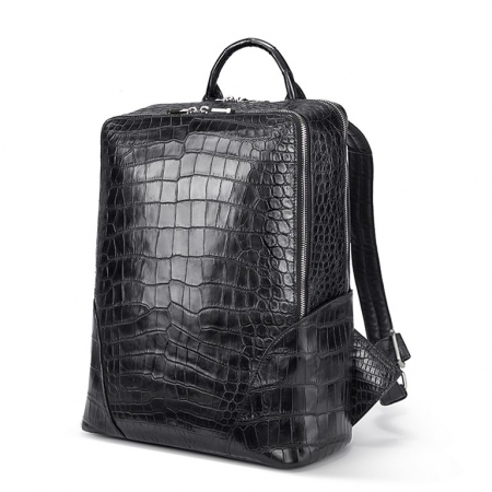 Genuine Alligator Leather Backpack Business Travel Daypack for Men-Micro Side