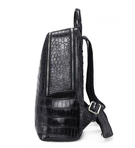 Genuine Alligator Leather Backpack Business Travel Daypack for Men-Side
