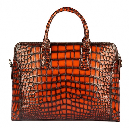 Hand-Painted Alligator Briefcase Messenger Bag Laptop Bag-Back