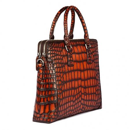Hand-Painted Alligator Briefcase Messenger Bag Laptop Bag-Side