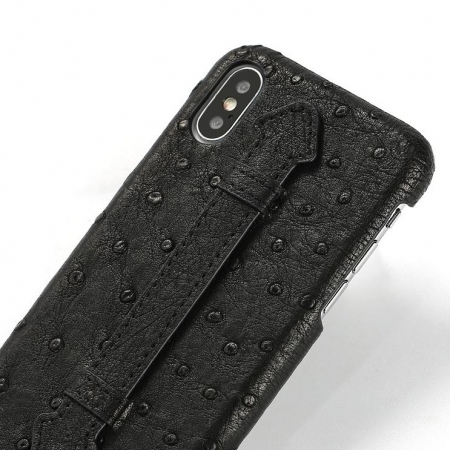 iPhone XS Max, XS Ostrich Skin Case, Ostrich Skin Cases for iPhone XS Max, XS-Black-Details