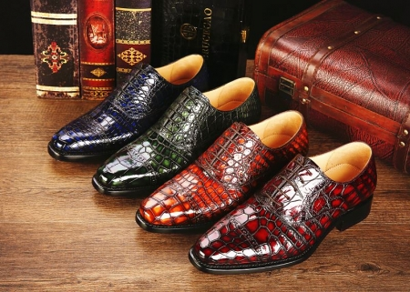 Alligator Leather Cap-Toe Lace up Oxford Dress Shoes