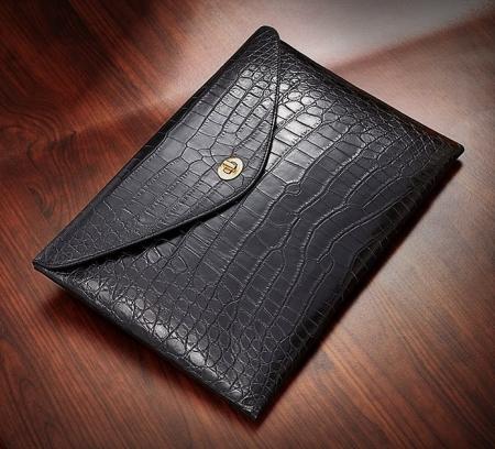 Large Capacity Alligator Leather Business Briefcase Envelope Bag-Black