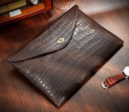 Large Capacity Alligator Leather Business Briefcase Envelope Bag-Brown-1