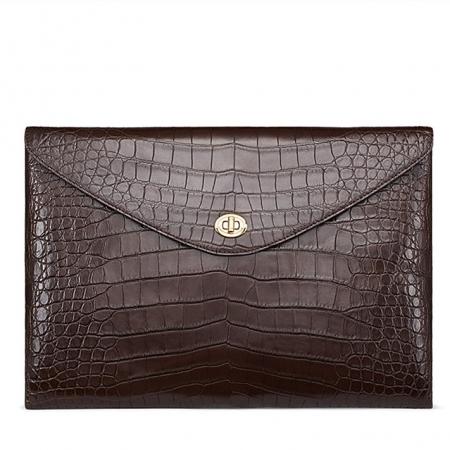 Large Capacity Alligator Leather Business Briefcase Envelope Bag-Brown