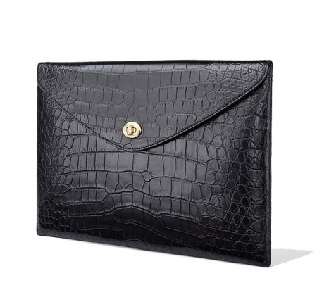 Large Capacity Alligator Leather Business Briefcase Envelope Bag-Micro Side