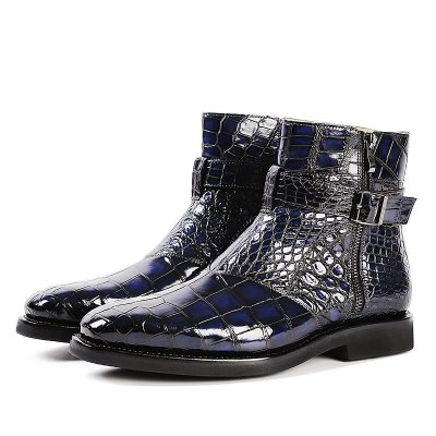 Men's Handcrafted Genuine Alligator Leather Lace-up Boots-Blue