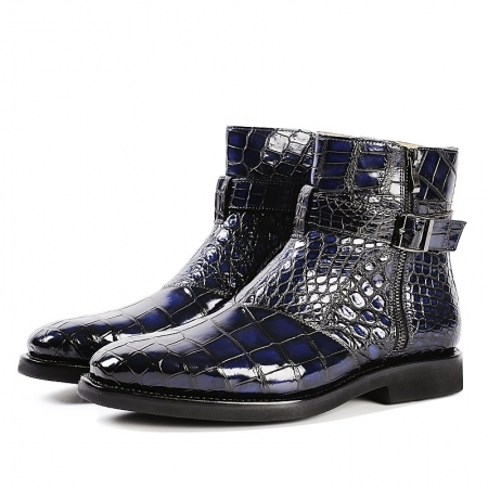 Men's Handcrafted Genuine Alligator Leather Boots-Blue