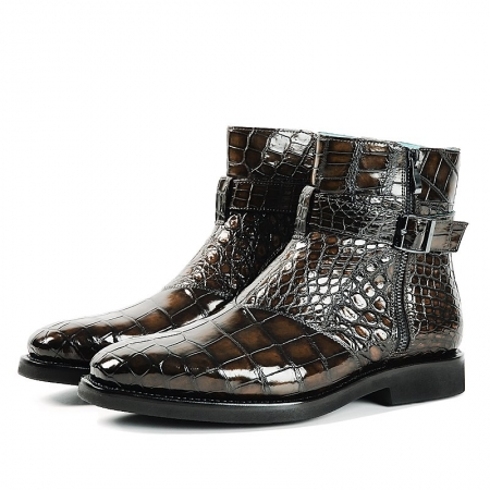Men's Handcrafted Genuine Alligator Leather Boots-Brown