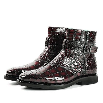 Men's Handcrafted Genuine Alligator Leather Lace-up Boots-Burgundy