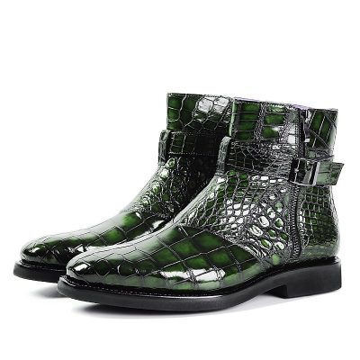 Men's Handcrafted Genuine Alligator Leather Lace-up Boots-Green