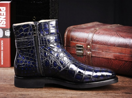 Men's Handcrafted Genuine Alligator Leather Boots-Side-2