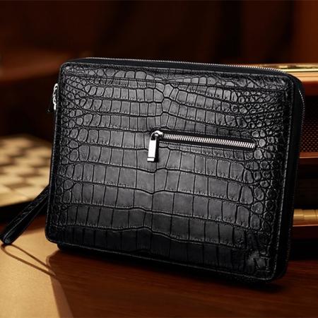 Men's Alligator Leather Business Clutch Wrist Bag-Black