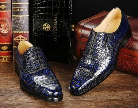 Mens Alligator Leather Cap-Toe Lace up Oxford Dress Shoes-Blue-1