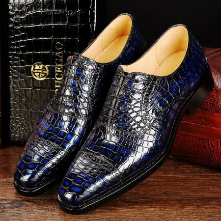 Mens Alligator Leather Cap-Toe Lace up Oxford Dress Shoes-Blue