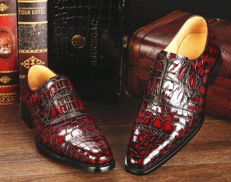 Mens Alligator Leather Cap-Toe Lace up Oxford Dress Shoes-Burgundy-1