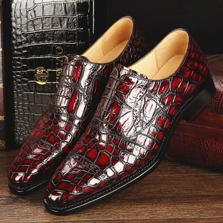 Mens Alligator Leather Cap-Toe Lace up Oxford Dress Shoes-Burgundy