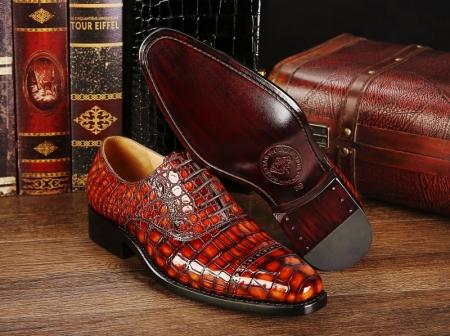 Mens Alligator Leather Cap-Toe Lace up Oxford Dress Shoes-Details