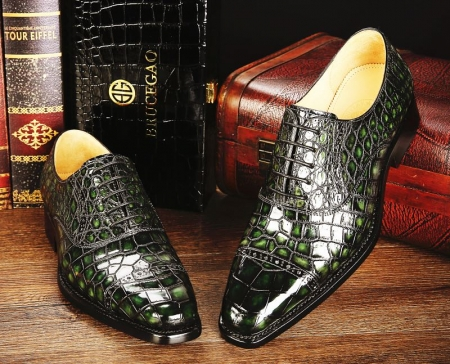 Mens Alligator Leather Cap-Toe Lace up Oxford Dress Shoes-Green-1