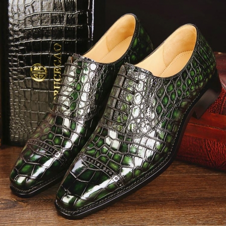 Mens Alligator Leather Cap-Toe Lace up Oxford Dress Shoes-Green