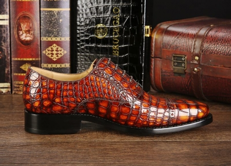 Mens Alligator Leather Cap-Toe Lace up Oxford Dress Shoes-Side-1