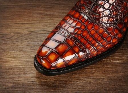 Mens Alligator Leather Cap-Toe Lace up Oxford Dress Shoes-Toe