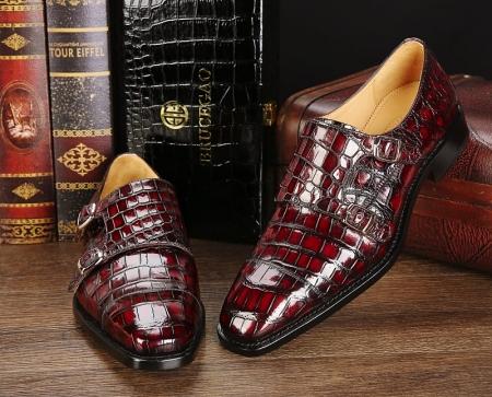 Men's Alligator Leather Double Buckle Monk Strap Cap-Toe Dress Shoes-1