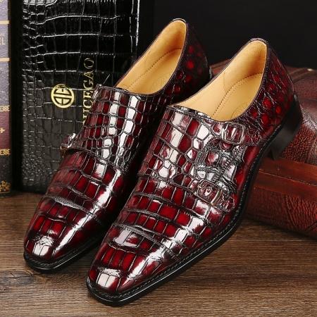 Men's Alligator Leather Double Buckle Monk Strap Cap-Toe Dress Shoes