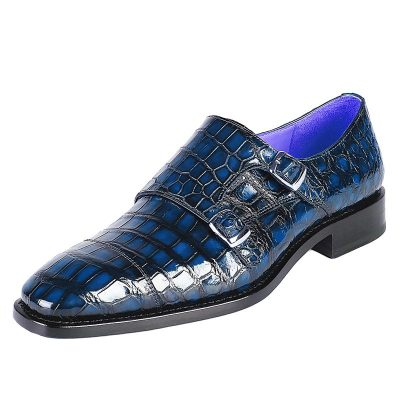 Men's Alligator Leather Double Buckle Monk Strap Cap-Toe Dress Shoes-Blue