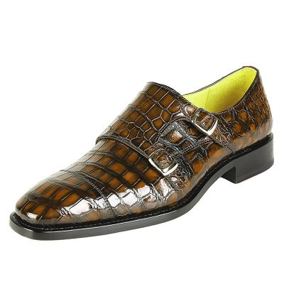 Men's Alligator Leather Double Buckle Monk Strap Cap-Toe Dress Shoes-Brown