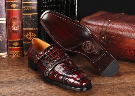 Men's Alligator Leather Double Buckle Monk Strap Cap-Toe Dress Shoes-Details