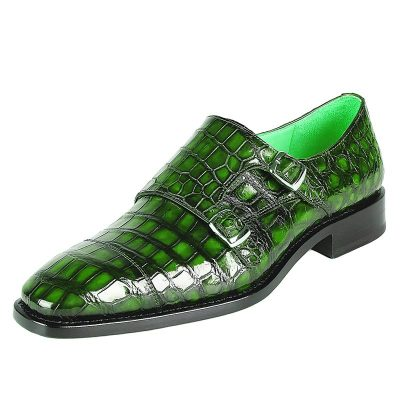 Men's Alligator Leather Double Buckle Monk Strap Cap-Toe Dress Shoes-Green