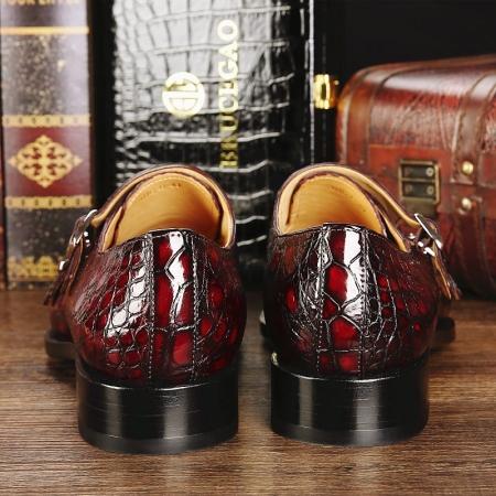 Men's Alligator Leather Double Buckle Monk Strap Cap-Toe Dress Shoes-Heel
