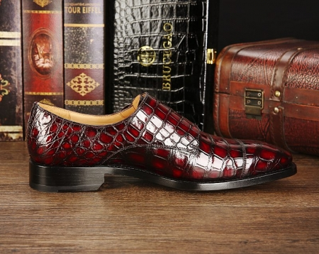 Men's Alligator Leather Double Buckle Monk Strap Cap-Toe Dress Shoes-Side-1